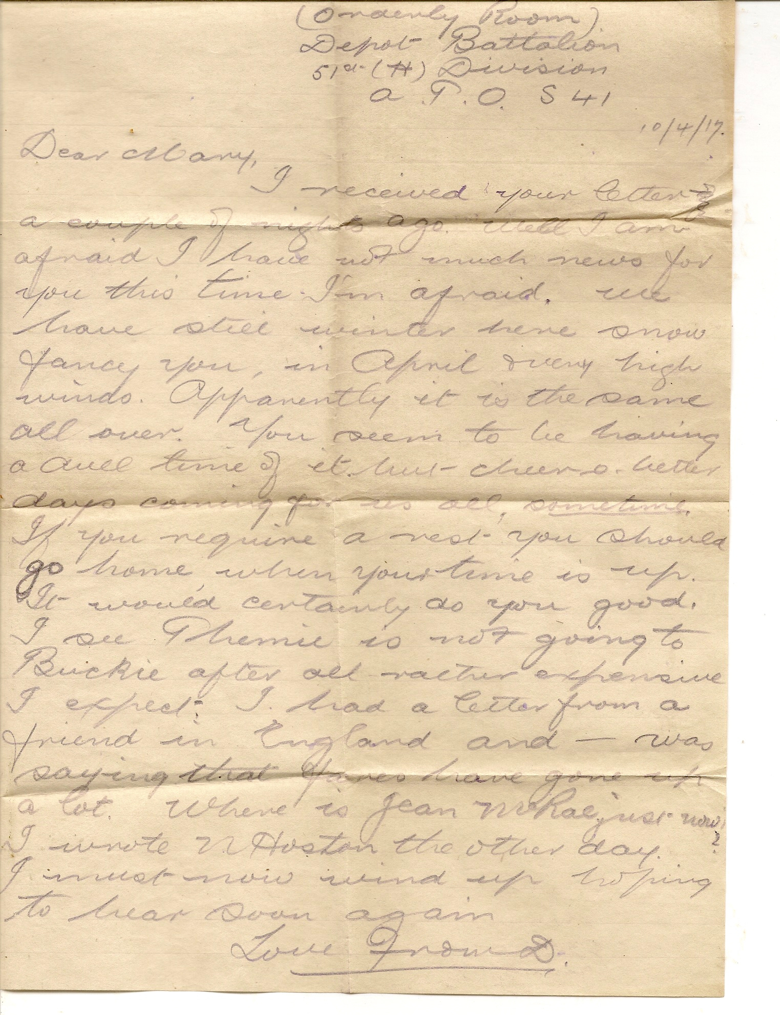 image of letter April 10th 1917