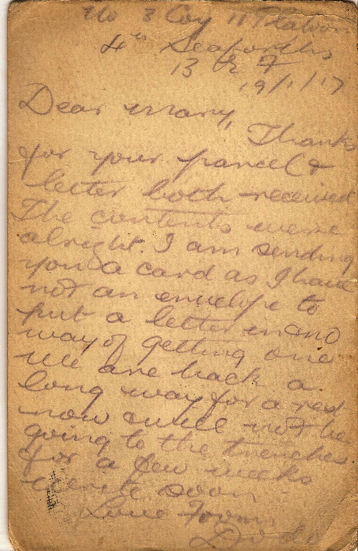 image of Letter January 19th 1917