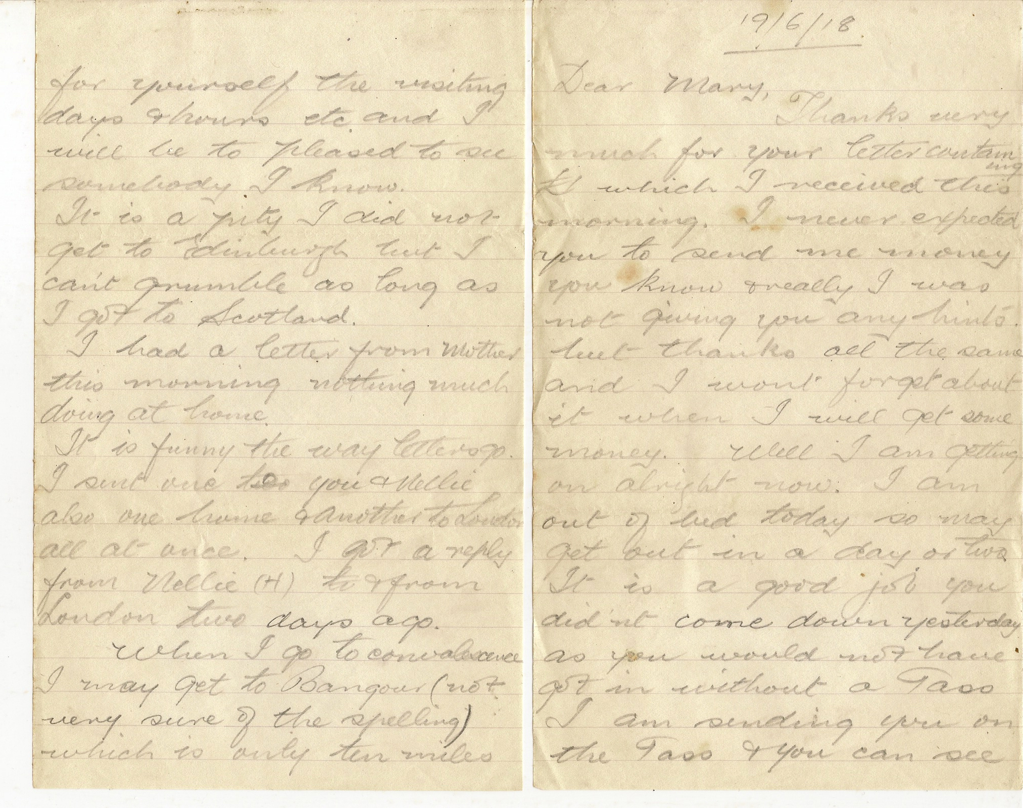 image of Letter dated June 19th 1918 - 19/6/18