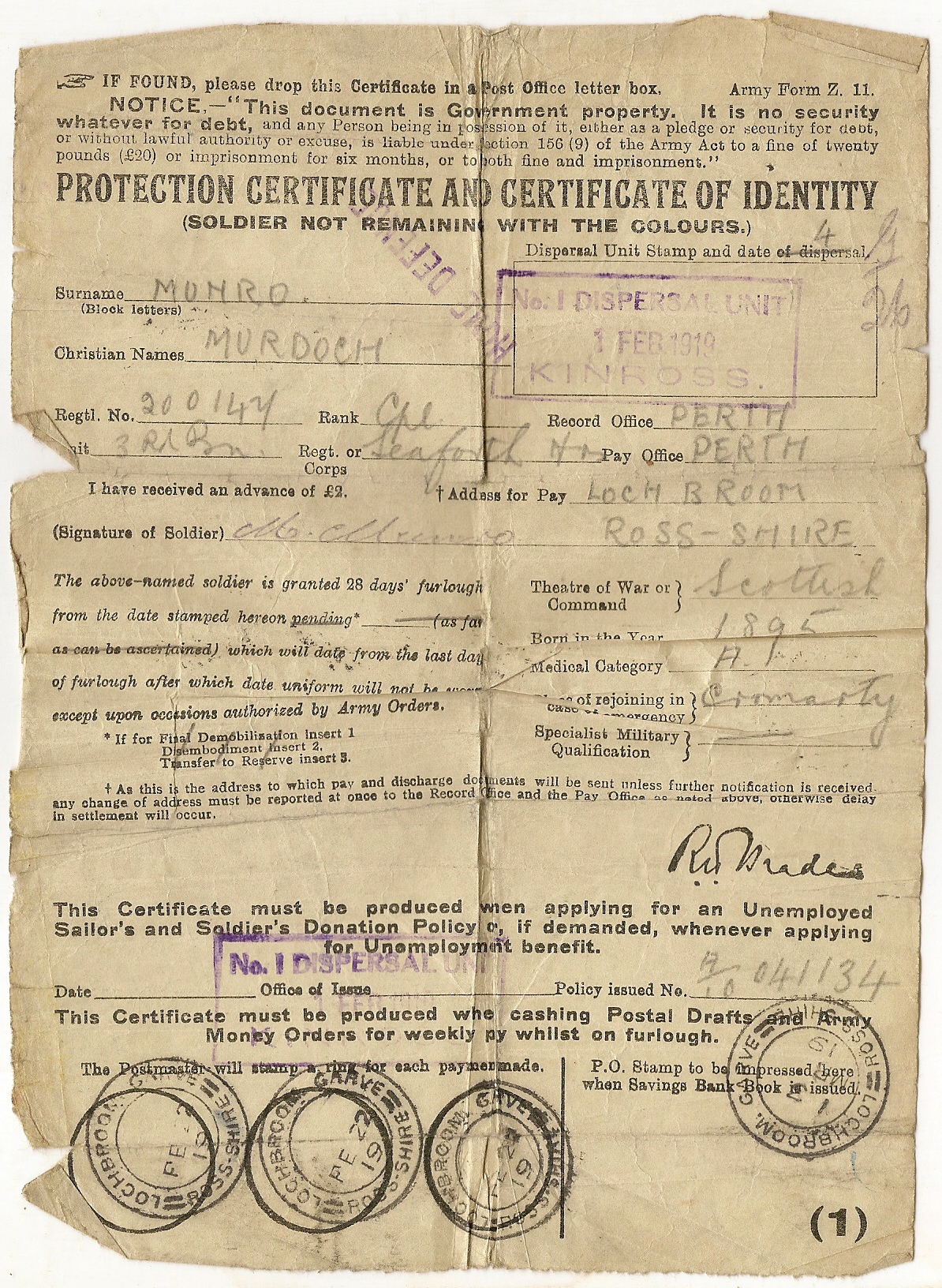 image of Protection Certificate and Certificate of Identity