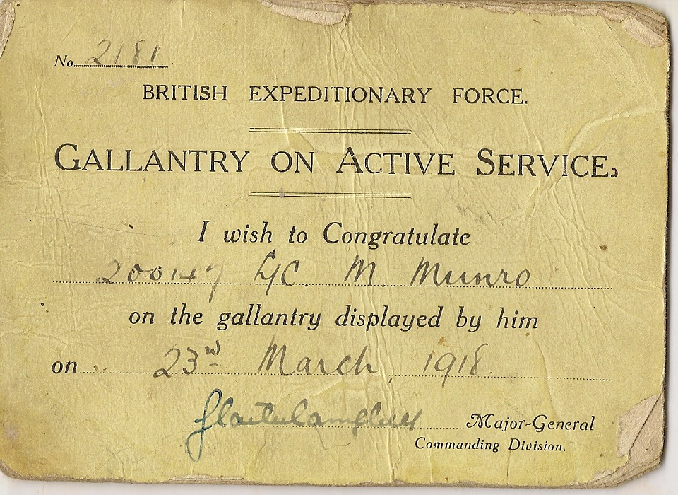 image of notice of Gallantry on Active Service