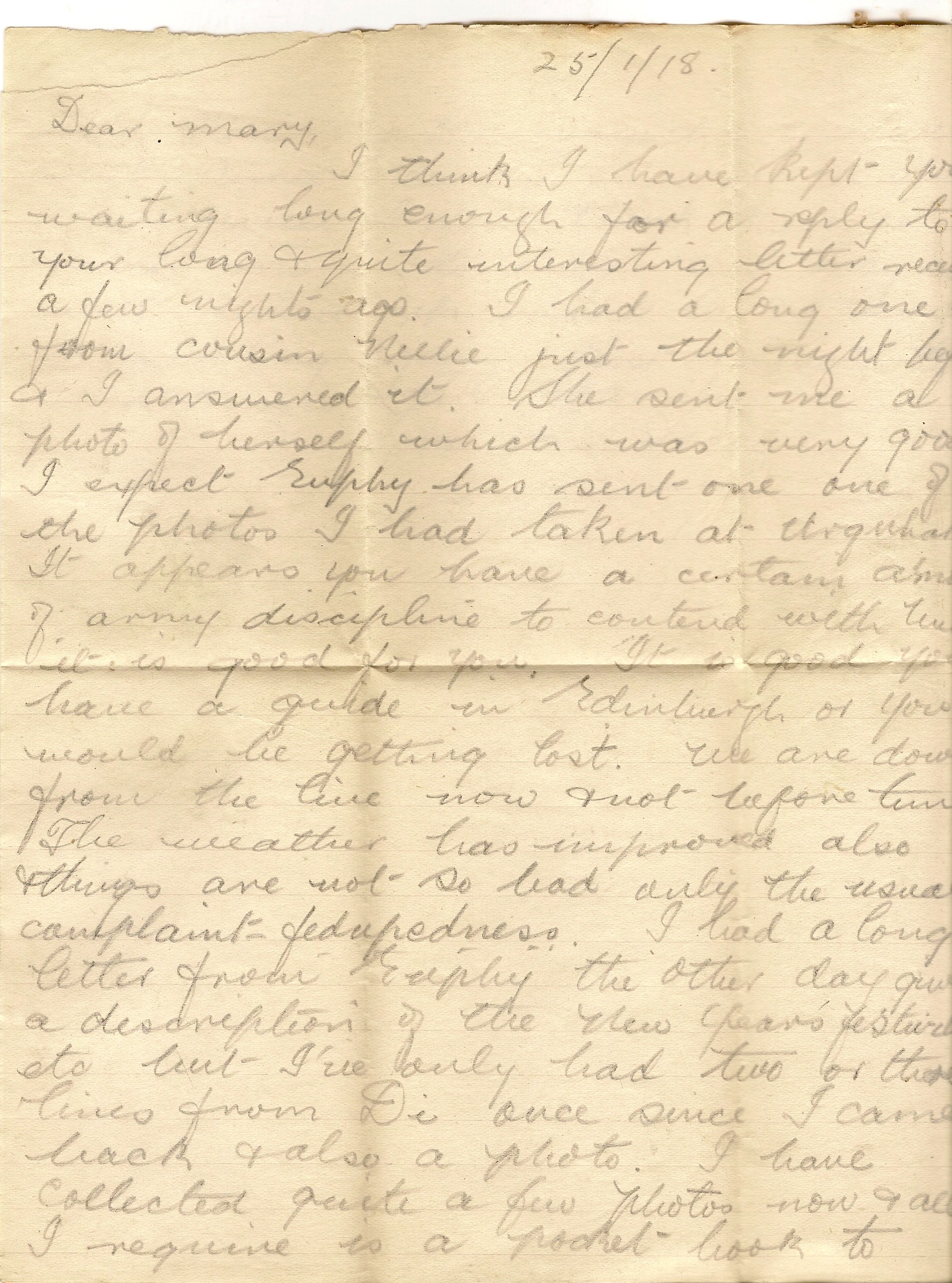 image of letter dated January 25 1918
