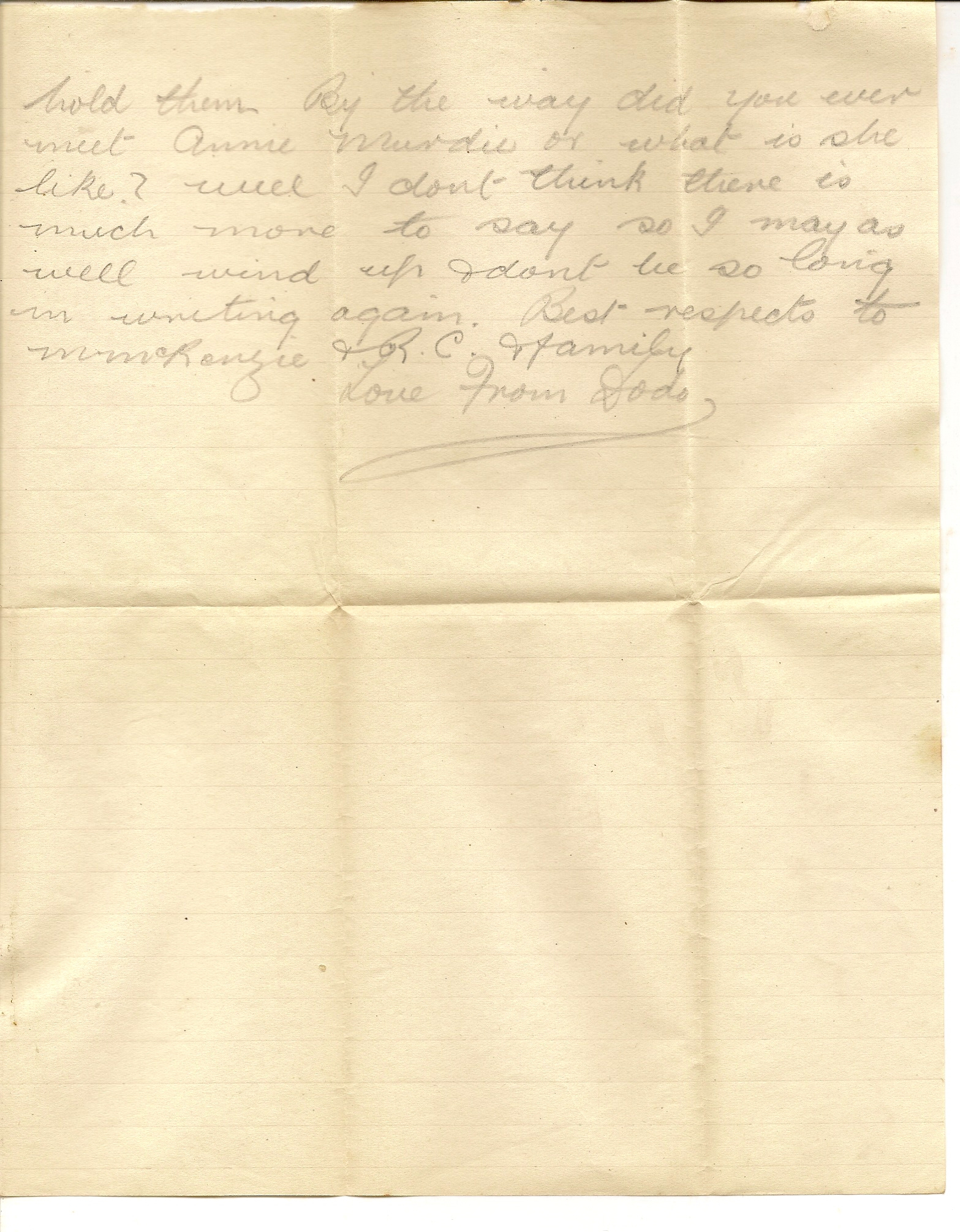 image of back of letter dated January 25 1918