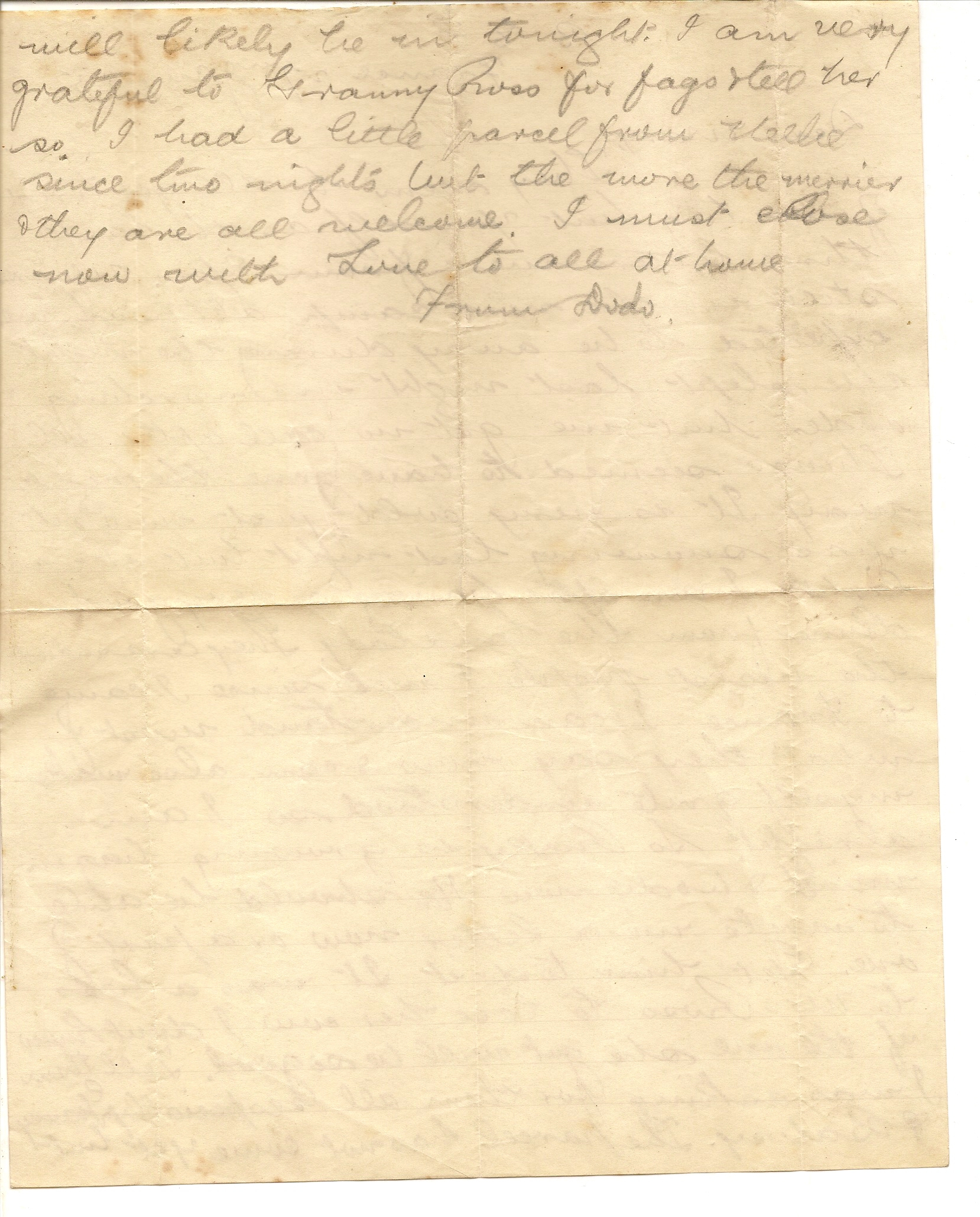 image of back of letter dated January 27 1915