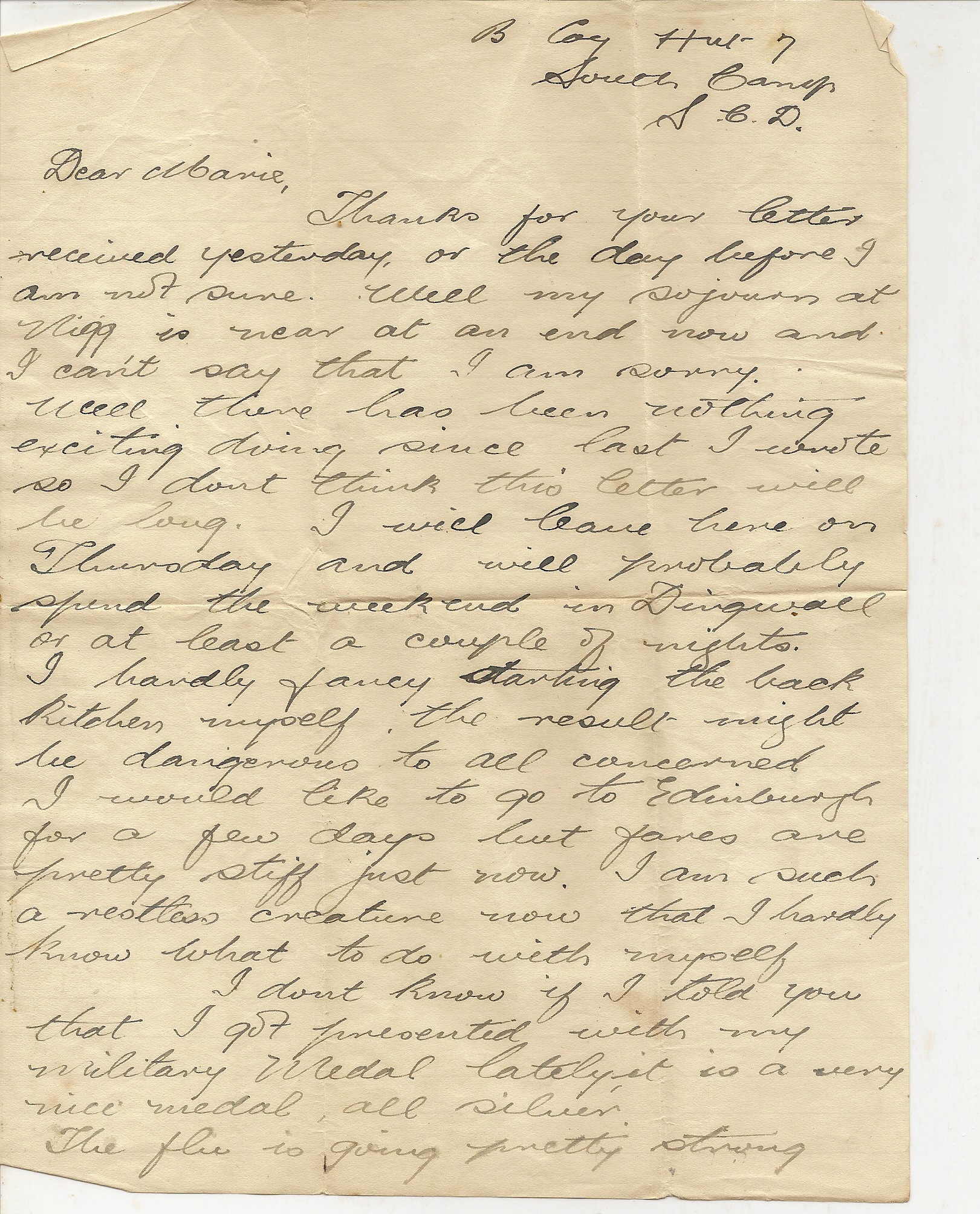 image of Letter from B Coy Hut 7 page 1