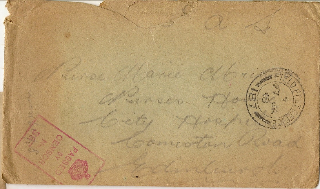 image of envelope dated January 27 1918