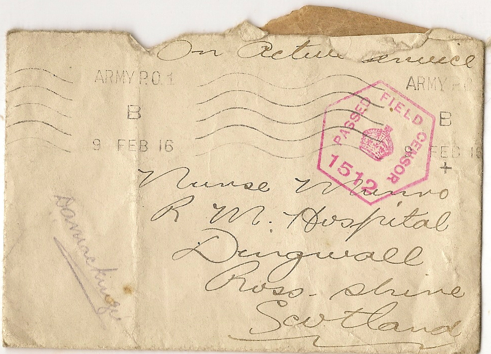 image of envelope dated February 9 1916