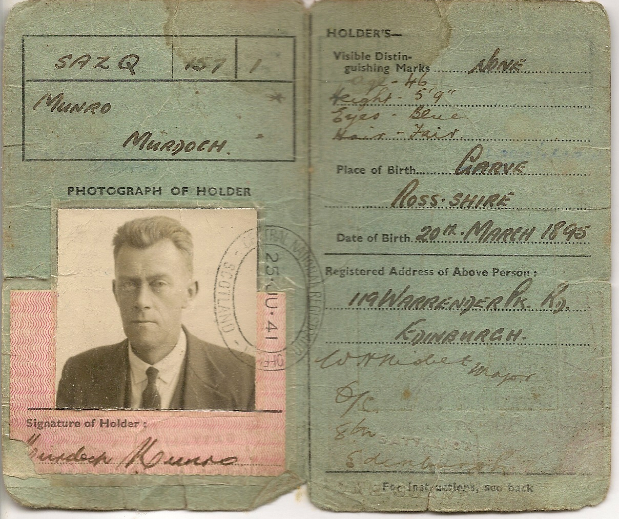 image of identity card inside pages