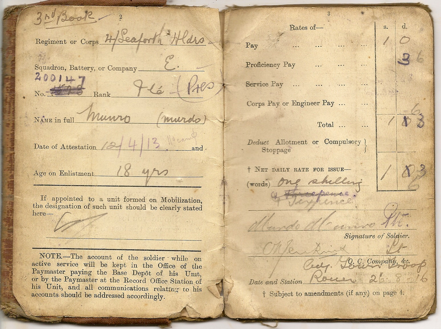 image of soldier's pay book pages 2 and 3