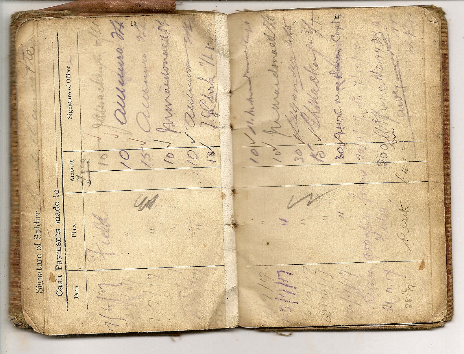 image of soldier's pay book next pages